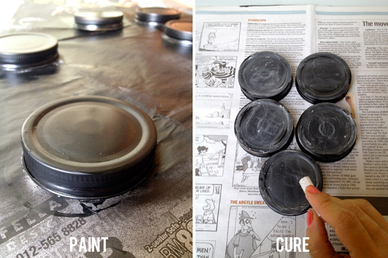 Paint & cure the mason jar lids