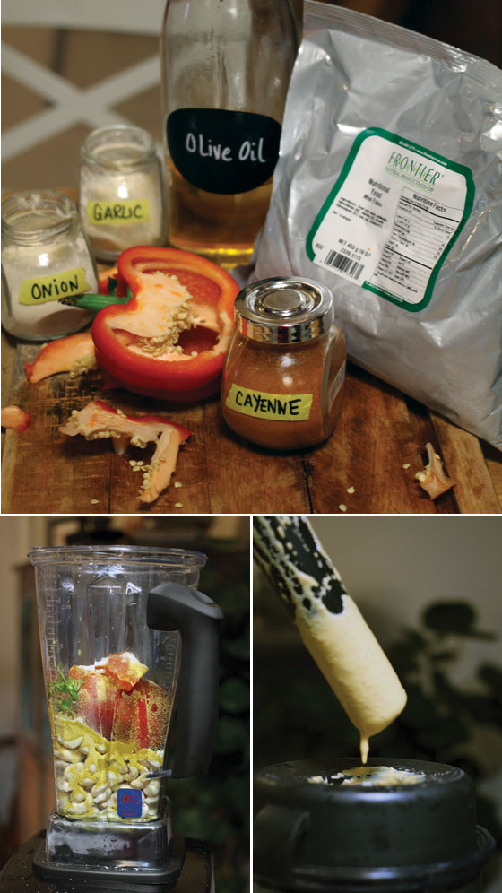 Cashew nut sauce ingredients for cheesy kale chips - Vegan