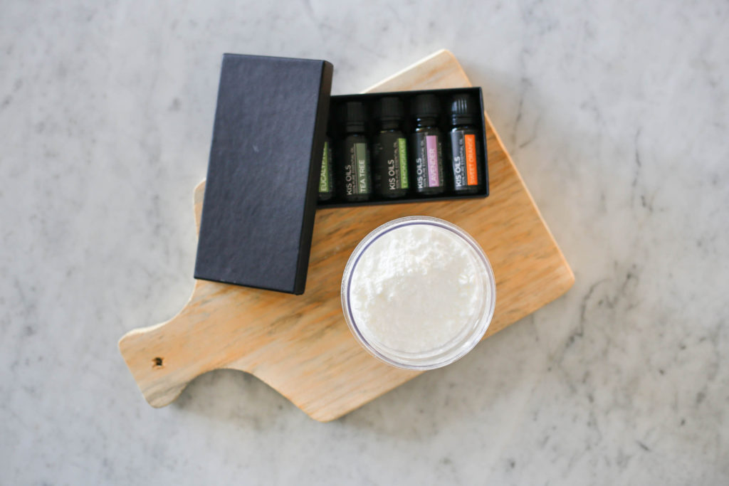 Baking soda & essential oils - the 2 ingredients for our orange scented kitchen scrub